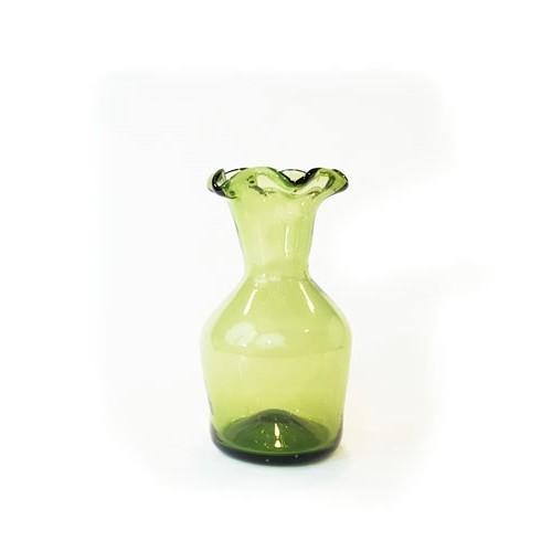 JAMESTOWN GLASS LIPPED VASE GREEN Thumbnail