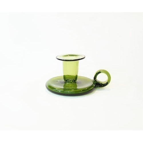 JAMESTOWN GLASS COLONIAL CANDLESTICK GREEN Thumbnail