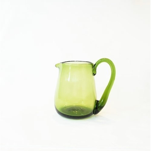 JAMESTOWN GLASS CREAM PITCHER GREEN Thumbnail