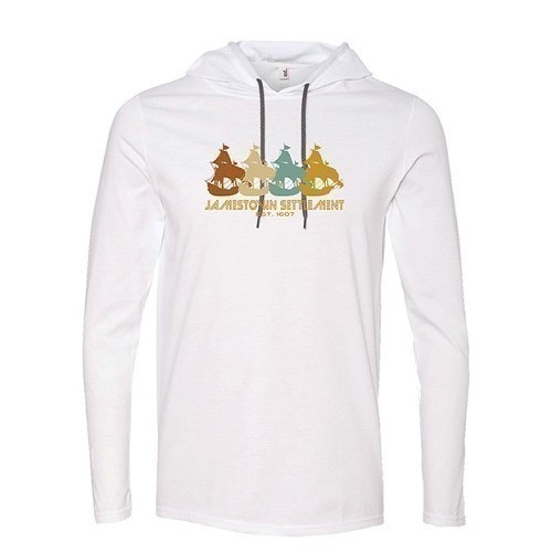 LONG-SLEEVED HOODED PULLOVER - WHITE Thumbnail