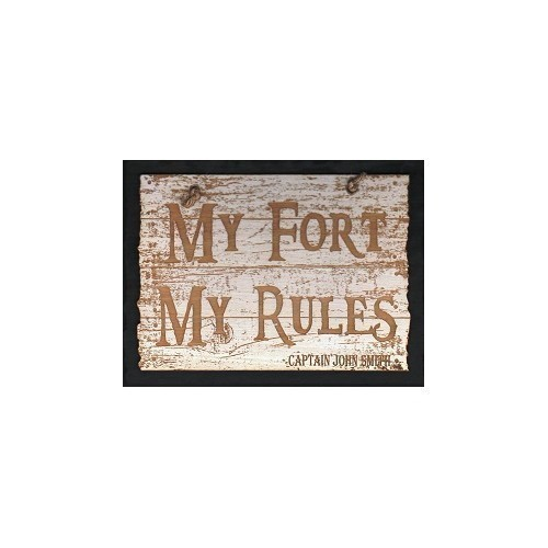 LASER ETCHED WOOD SIGN - MY FORT MY RULES Thumbnail