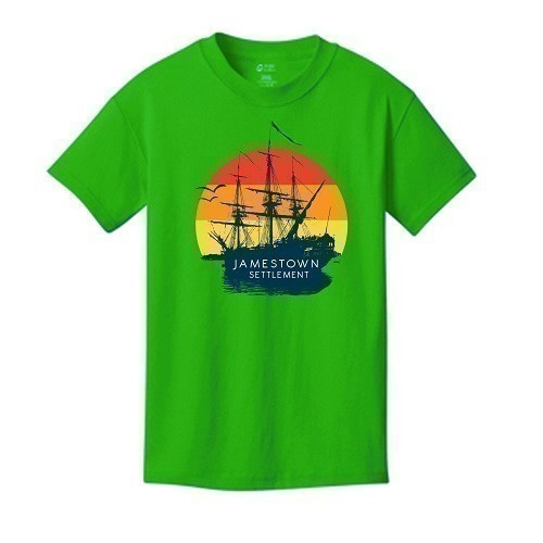 SUNSET SHIP TEE - YOUTH - NEON GREEN Thumbnail